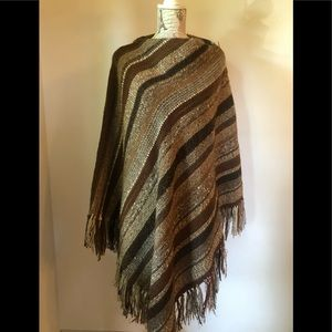Poncho Brown Wool hand made hand woven